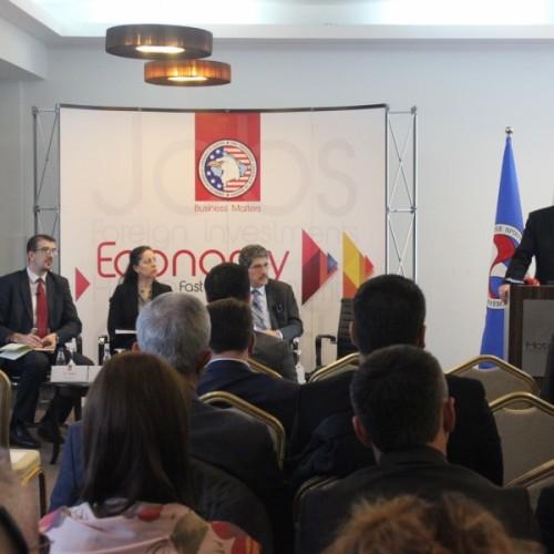 """Fjalimi i Guvernatorit, z. Bedri Hamza, në konferencën e organizuar nga Oda Ekonomike Amerikane në temën """"Ndikimi i Sektorit Bankar në Zhvillimin e Sektorit Privat"""""""